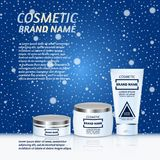 Vector 3D cosmetic illustration on a winter snowing background. Beauty realistic cosmetic product design template. Vector 3D cosmetic illustration on a soft Stock Images