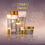 Vector 3D cosmetic illustration on a soft light background with flare effects. Beauty realistic cosmetic product design template. Vector 3D cosmetic Stock Image