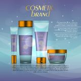 Vector 3D cosmetic illustration on a soft light background with flare effects. Beauty realistic cosmetic product design template. Vector 3D cosmetic Stock Photography