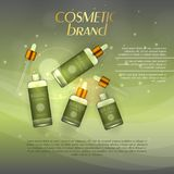 Vector 3D cosmetic illustration on a soft light background with flare effects. Beauty realistic cosmetic product design template. Vector 3D cosmetic Stock Images
