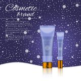 Vector 3D cosmetic illustration on a winter snowing background. Beauty realistic cosmetic product design template. Vector 3D cosmetic illustration on a soft Stock Photos
