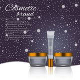 Vector 3D cosmetic illustration on a winter snowing background. Beauty realistic cosmetic product design template. Vector 3D cosmetic illustration on a soft Stock Photography