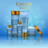 Vector 3D cosmetic illustration on a soft light blurred background with bokeh. Beauty realistic cosmetic product design template. Vector 3D cosmetic Royalty Free Stock Photo