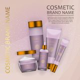 Vector 3D cosmetic illustration on a soft light waves background . Beauty realistic cosmetic product design template. Vector 3D cosmetic illustration on a soft Stock Images