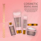 Vector 3D cosmetic illustration on a soft light waves background . Beauty realistic cosmetic product design template. Vector 3D cosmetic illustration on a soft Royalty Free Stock Images