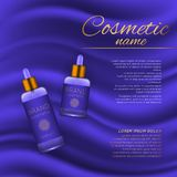Vector 3D cosmetic illustration on a soft silk background. Beauty realistic cosmetic product design template. Royalty Free Stock Photography
