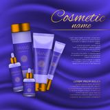 Vector 3D cosmetic illustration on a soft silk background. Beauty realistic cosmetic product design template. Royalty Free Stock Photos