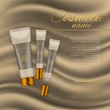 Vector 3D cosmetic illustration on a soft silk background. Beauty realistic cosmetic product design template. Vector 3D cosmetic illustration on a soft silk Royalty Free Stock Photos