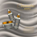 Vector 3D cosmetic illustration on a soft silk background. Beauty realistic cosmetic product design template. Vector 3D cosmetic illustration on a soft silk Royalty Free Stock Photo