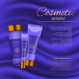 Vector 3D cosmetic illustration on a soft silk background. Beauty realistic cosmetic product design template. Vector 3D cosmetic illustration on a soft silk Stock Image