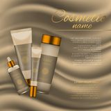 Vector 3D cosmetic illustration on a soft silk background. Beauty realistic cosmetic product design template. Vector 3D cosmetic illustration on a soft silk Stock Photos
