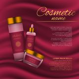 Vector 3D cosmetic illustration on a soft silk background. Beauty realistic cosmetic product design template. Stock Photography