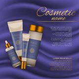 Vector 3D cosmetic illustration on a soft silk background. Beauty realistic cosmetic product design template. Royalty Free Stock Photo