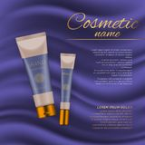 Vector 3D cosmetic illustration on a soft silk background. Beauty realistic cosmetic product design template. Royalty Free Stock Image