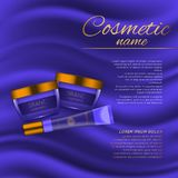 Vector 3D cosmetic illustration on a soft silk background. Beauty realistic cosmetic product design template. Stock Image