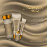 Vector 3D cosmetic illustration on a soft silk background. Beauty realistic cosmetic product design template. Vector 3D cosmetic illustration on a soft silk Stock Images
