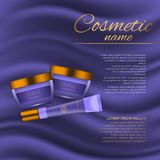 Vector 3D cosmetic illustration on a soft silk background. Beauty realistic cosmetic product design template. Vector 3D cosmetic illustration on a soft silk Stock Photo