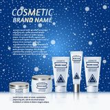 Vector 3D cosmetic illustration on a winter snowing background. Beauty realistic cosmetic product design template. Vector 3D cosmetic illustration on a soft Stock Photo