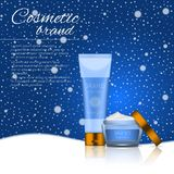 Vector 3D cosmetic illustration on a winter snowing background. Beauty realistic cosmetic product design template. Vector 3D cosmetic illustration on a soft Royalty Free Stock Image