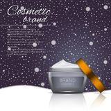 Vector 3D cosmetic illustration on a winter snowing background. Beauty realistic cosmetic product design template. Vector 3D cosmetic illustration on a soft Royalty Free Stock Photo