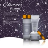 Vector 3D cosmetic illustration on a winter snowing background. Beauty realistic cosmetic product design template. Vector 3D cosmetic illustration on a soft Stock Image