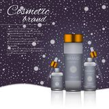 Vector 3D cosmetic illustration on a winter snowing background. Beauty realistic cosmetic product design template. Vector 3D cosmetic illustration on a soft Royalty Free Stock Photos