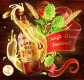 Vector 3d craft beer advertising poster template. Vector craft beer festival ad. Illustration realistic 3d splashing from glass bottle lager beer, alcohol drink Stock Images