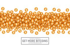 Vector 3D Cryptocurrency Bitcoin Icons. Vector 3D Digital Cryptocurrency Bitcoin Orange Flat Icons Abstract Conceptual Illustration Isolated on White Background Royalty Free Stock Photos