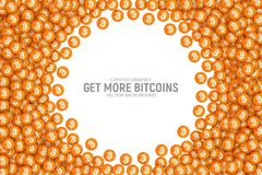Vector 3D Cryptocurrency Bitcoin Icons. Vector 3D Digital Cryptocurrency Bitcoin Orange Flat Icons Abstract Conceptual Illustration Isolated on White Background Stock Image