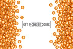 Vector 3D Cryptocurrency Bitcoin Icons. Vector 3D Digital Virtual Cryptocurrency Bitcoin Orange Flat Icons Abstract Conceptual Illustration Isolated on White Royalty Free Stock Photo