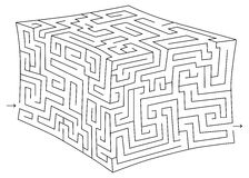 Vector 3d cube maze (labyrinth) Stock Images