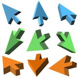 Vector 3D cursors. On white background Stock Image