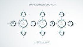Vector 3d de cirkeletiket van Infographic, malplaatjeontwerp Mede zaken Stock Foto