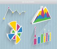 Vector 3d diagrams. Vector 3d diagram and pie charts Royalty Free Stock Images