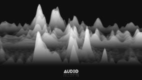 Vector 3d echo audio wavefrom spectrum. Abstract music waves oscillation graph. Futuristic sound wave visualization. Black and white glowing impulse pattern vector illustration