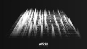 Vector 3d echo audio wavefrom spectrum. Abstract music waves oscillation graph. Futuristic sound wave visualization. Faded black and white glowing impulse stock illustration