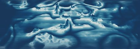 Vector 3d echo audio wavefrom spectrum. Music waves oscillation graph futuristic visualization. Bluish faded impulse. Pattern. Or Abstract relief map. Landscape vector illustration