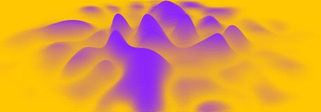Vector 3d echo audio wavefrom spectrum. Music waves oscillation graph futuristic visualization. Orange line impulse. Pattern. Or Abstract relief map. Landscape royalty free illustration