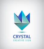 Vector 3d el logotipo geométrico cristalino abstracto, flor azul estilizada Foto de archivo
