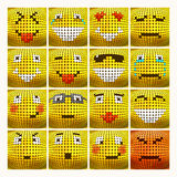 Vector 3D Emoticon set. 3D Emoticon set. Emotional face icon. Yellow emoticon. Vector dotted smiley face. Conceptual illustration on the theme of emotions Royalty Free Stock Photo
