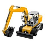 Vector 3d excavator detailed illustration Royalty Free Stock Image