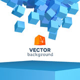 Vector 3D explosion background with cubical. Vector 3D object explosion background with cubical particles Stock Photography