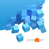 Vector 3D explosion background with cubical particles Royalty Free Stock Images