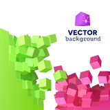 Vector 3D explosion background with cubical particles. Vector 3D object explosion background with cubical particles stock illustration