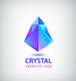 Vector 3d faceted origami logotype, abstract crystal logo, icon isolated. Futuristic creative identity idea, company sign Royalty Free Stock Photos