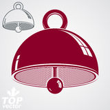 Vector 3d festive bell, additional version included. Eps 8 high. Quality vector illustration. Ring smooth dimensional design element. Waiter calling bell Royalty Free Stock Photo