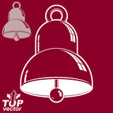 Vector 3d festive bell, includes invert version. Eps 8 high qual. Ity vector illustration. Ring smooth dimensional design element Royalty Free Stock Photos