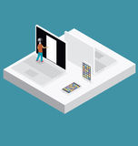 Vector 3d Flat Isometric With Education Concept Stock Image
