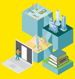 Vector 3d Flat Isometric With Internet Concept Stock Images
