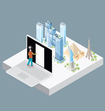 Vector 3d Flat Isometric With Internet Concept Royalty Free Stock Photography